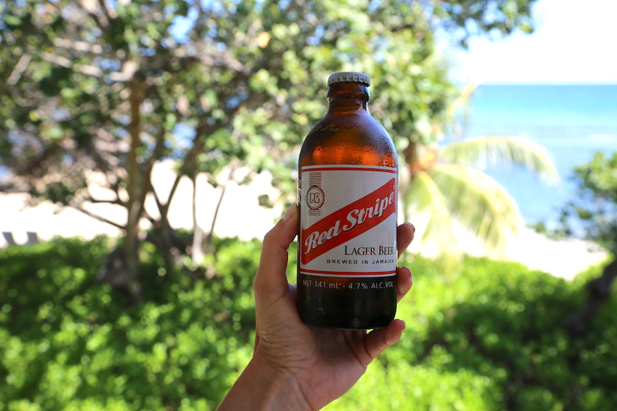 The national beer of Jamaica: Red Stripe