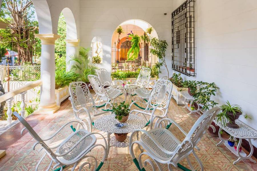Patio of an Airbnb rental in the capital city of Havana, Cuba