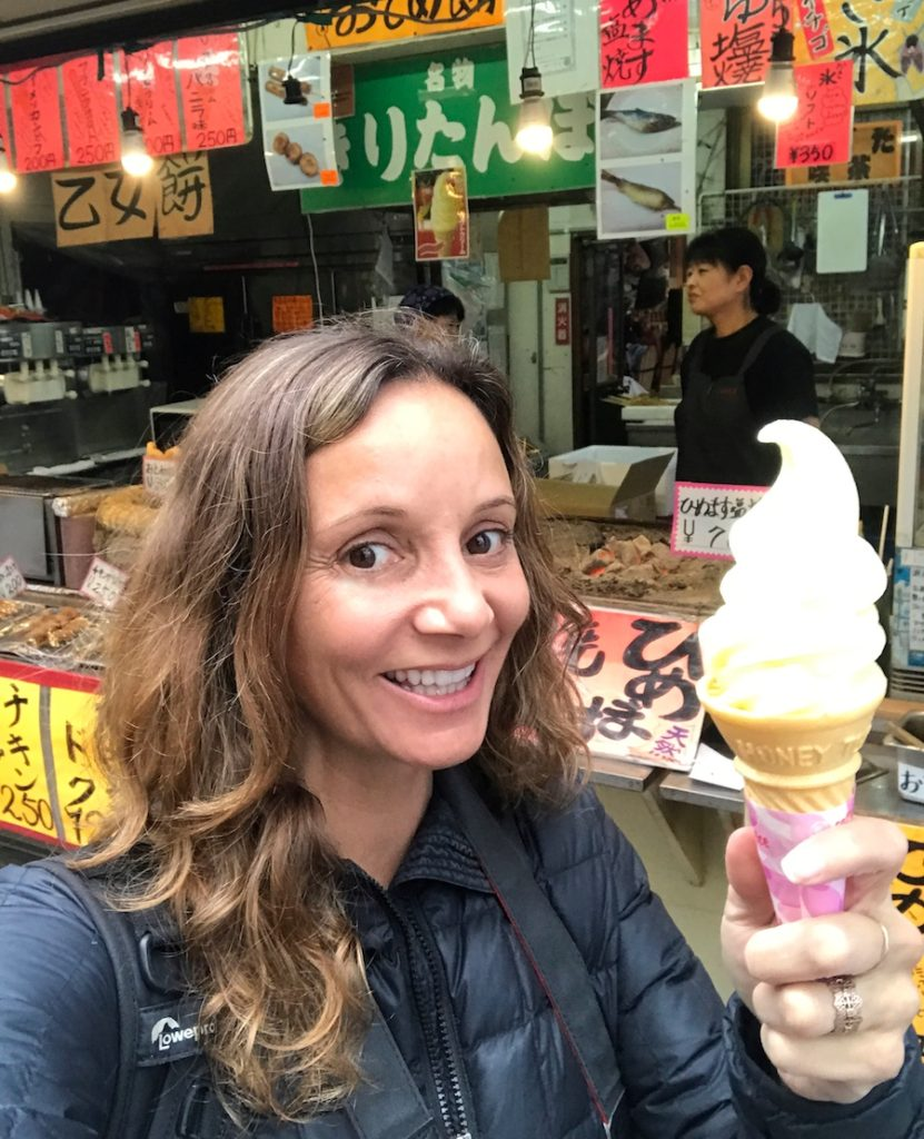 Annette White eating apple ice cream in Aomori, Japan