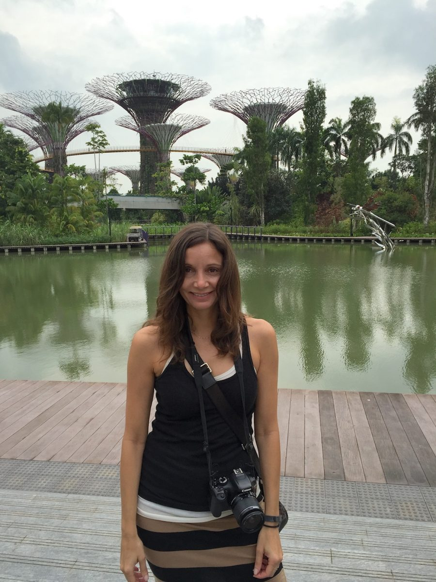 Annette on the Boardwalk of Gardens by the Bay in Singapore