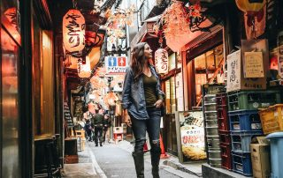 Annette white in piss alley in tokyo, Japan
