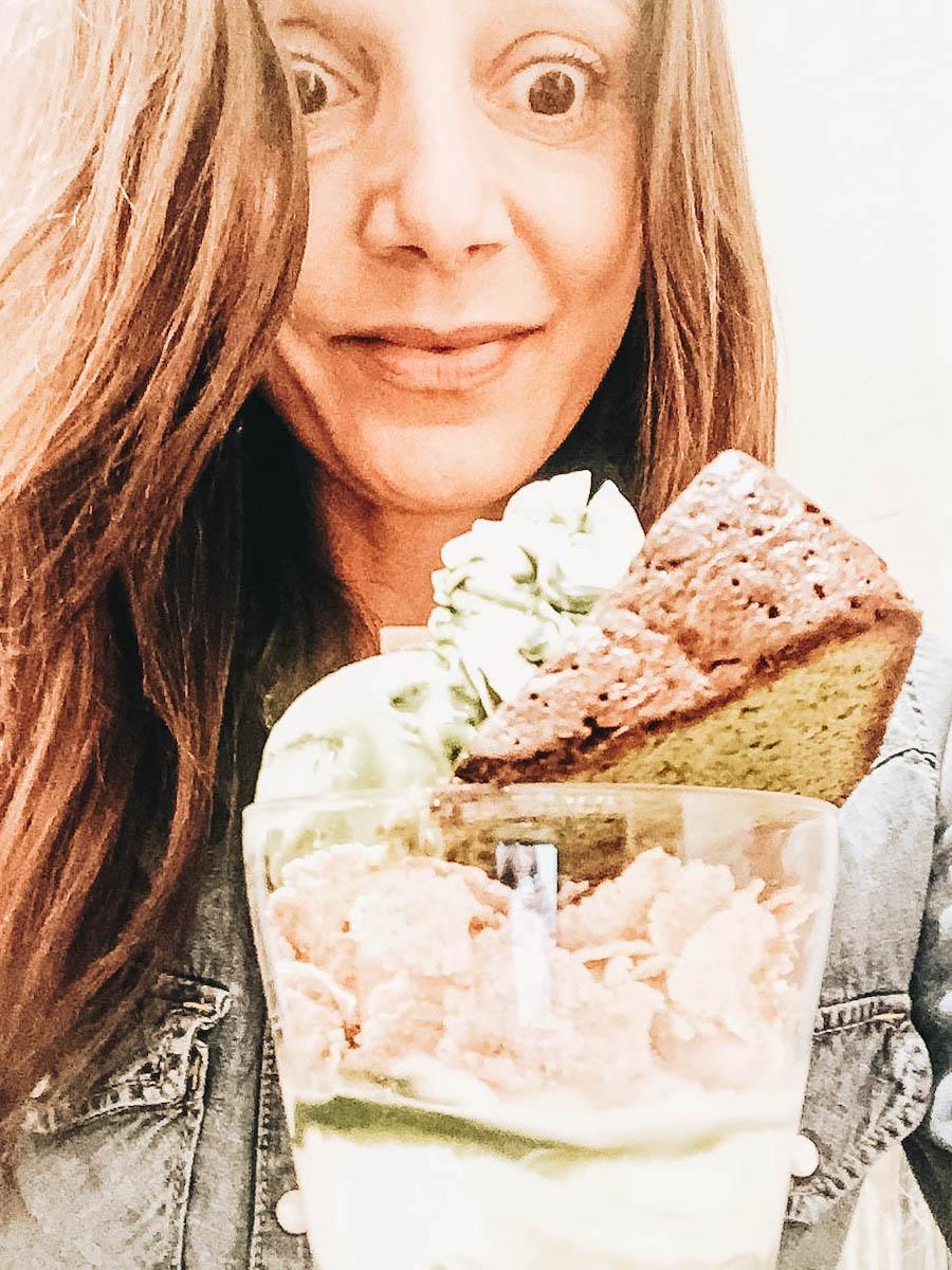 Annette White eating Match Dessert in Tokyo