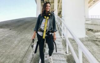 Annette White of Bucket List Journey doing the Arrábida Bridge Climb in Porto Portugal