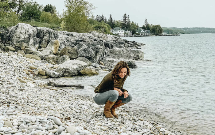 Annette White searching for Petoskey Stones in Michigan