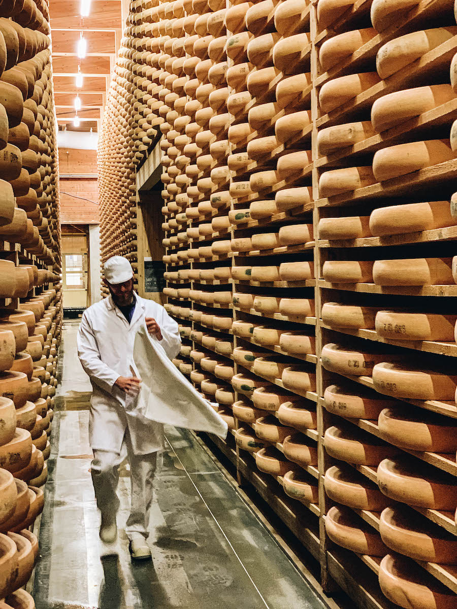 Storing wheels of Comte Cheese on Comte Cheese Route