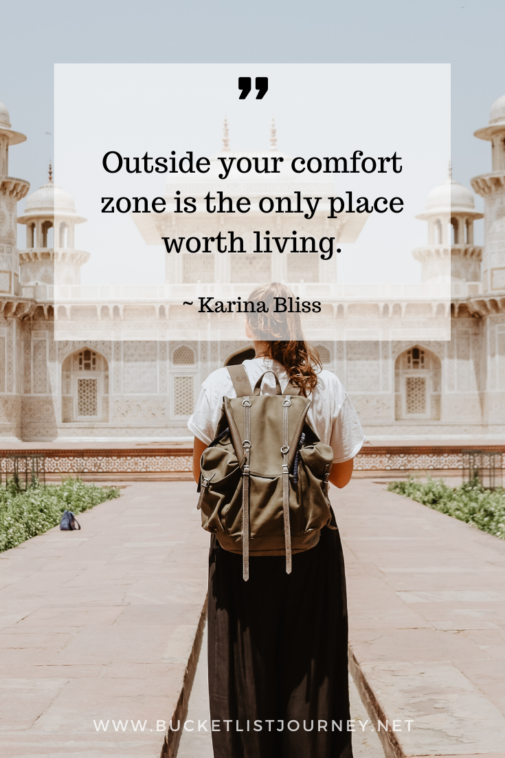 Quote about comfort zone by Karina Bliss | Quotes that Will Motivate You to Step Outside of Your Comfort Zone