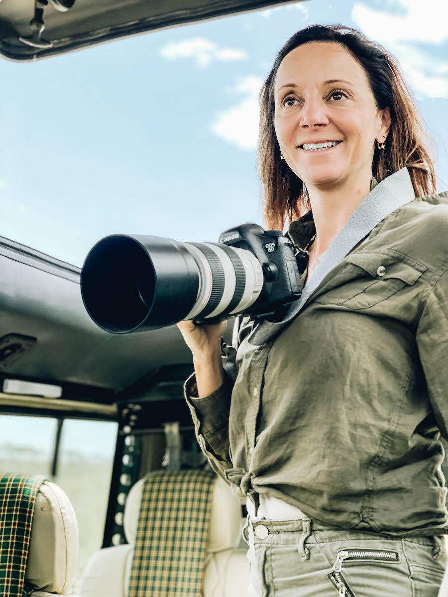 Annette White photographing in Tanzania