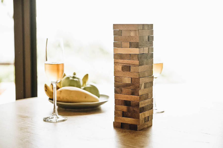 the jenga game, on a table