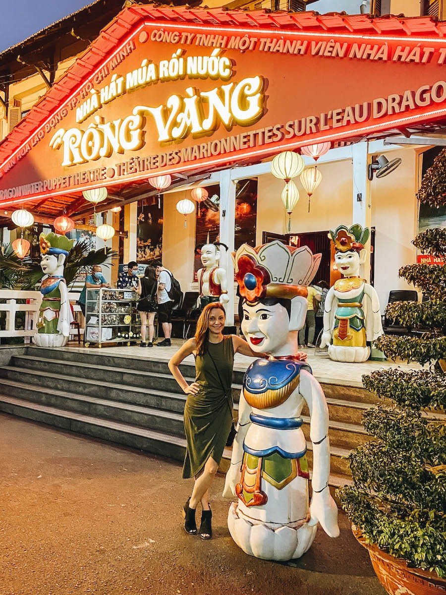 Annette White at the Golden Dragon Puppet theater in Ho Chi Minh - Saigon
