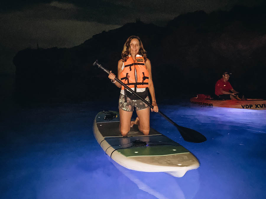Annette White LED Paddle boarding at Villa del Palmar in Mexico