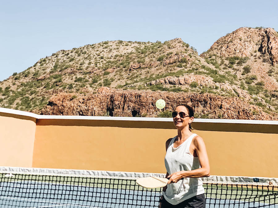 Annette White Playing pickleball at Villa del Palmar
