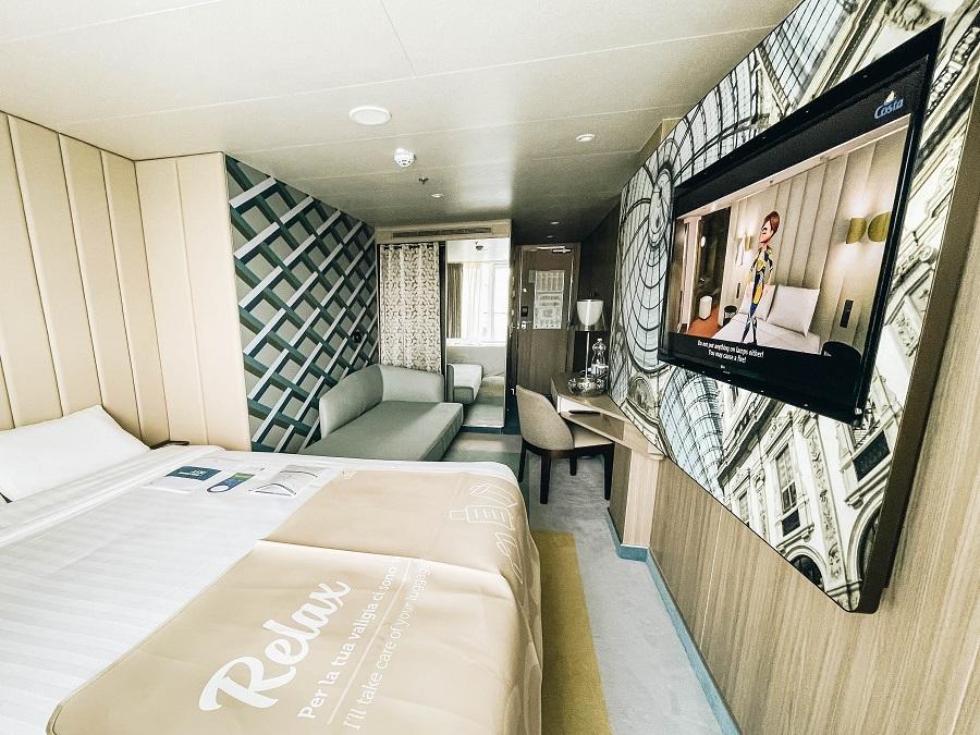 Beds on the Cabins Premium Balcony Costa Smeralda Cruise Ship