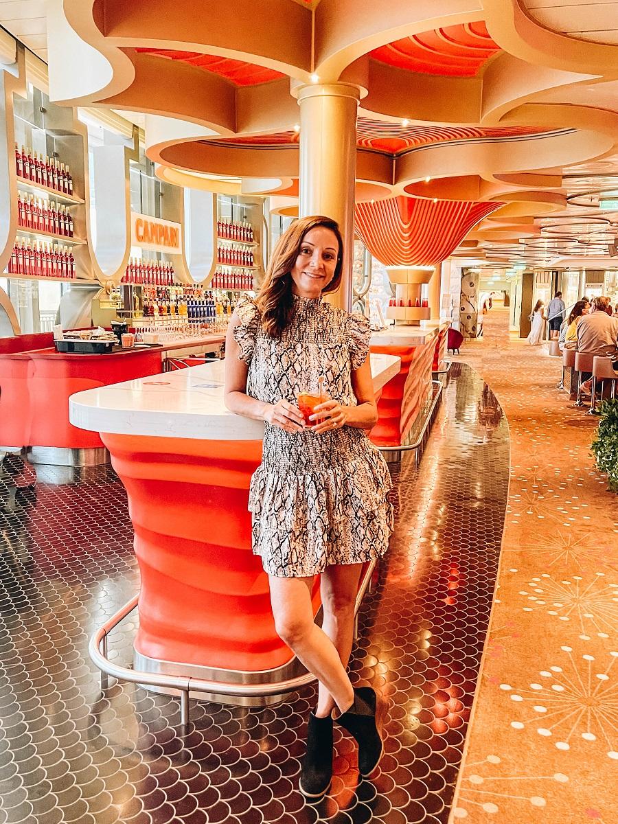 Annette on the Campari Bar onboard Costa Smeralda Cruise Ship