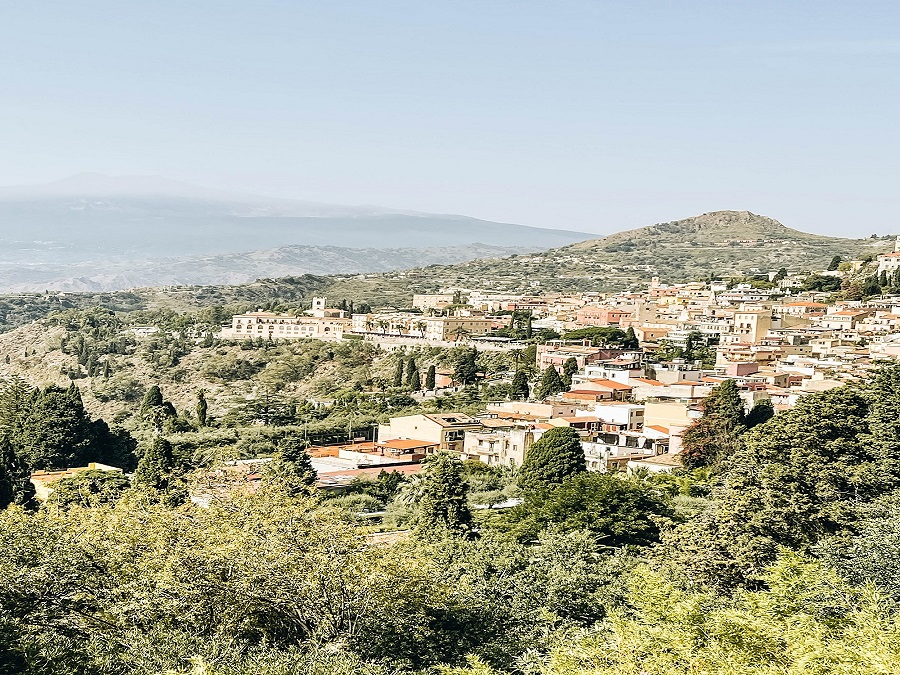 a beautiful view of Taormina Sicily